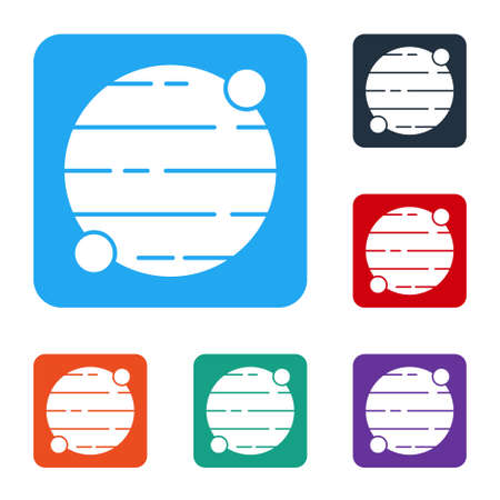White Planet icon isolated on white background. Set icons in color square buttons. Vector