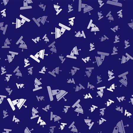 White Satellite dish icon isolated seamless pattern on blue background. Radio antenna, astronomy and space research. Vector 일러스트