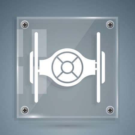 White Cosmic ship icon isolated on grey background. Square glass panels. Vector
