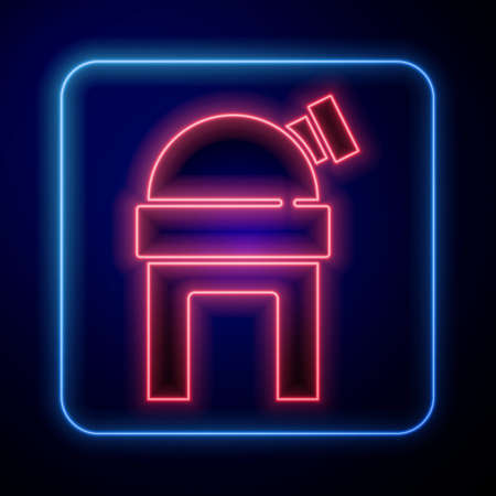 Glowing neon Astronomical observatory icon isolated on blue background. Observatory with a telescope. Scientific institution. Vector