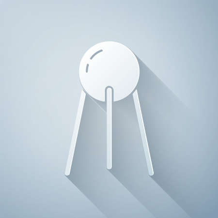Paper cut Satellite icon isolated on grey background. Paper art style. Vector 일러스트
