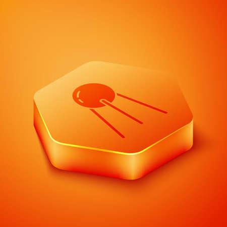 Isometric Satellite icon isolated on orange background. Orange hexagon button. Vector