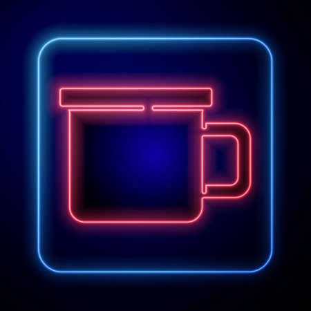 Glowing neon Camping metal mug icon isolated on blue background. Vector
