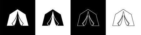 Set Tourist tent icon isolated on black and white background. Camping symbol. Vector