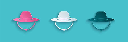 Paper cut Camping hat icon isolated on blue background. Beach hat panama. Explorer travelers hat for hunting, hiking, tourism. Paper art style. Vector
