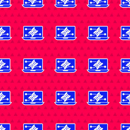 Blue Genetic engineering modification on laptop icon isolated seamless pattern on red background. DNA analysis, genetics testing, cloning. Vector