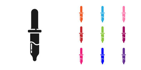 Black Pipette icon isolated on white background. Element of medical, cosmetic, chemistry lab equipment. Set icons colorful. Vector  イラスト・ベクター素材