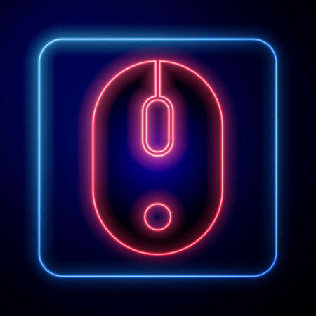 Glowing neon Computer mouse icon isolated on blue background. Optical with wheel symbol. Vector