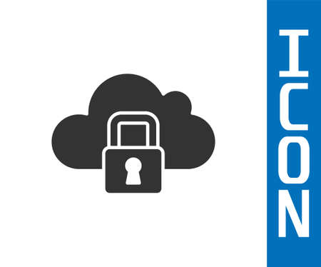 Grey Cloud computing lock icon isolated on white background. Security, safety, protection concept. Protection of personal data. Vector