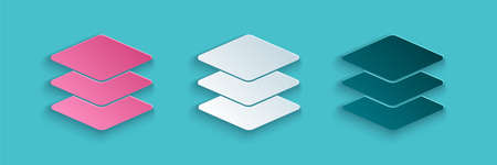 Paper cut Layers icon isolated on blue background. Paper art style. Vector Ilustrace