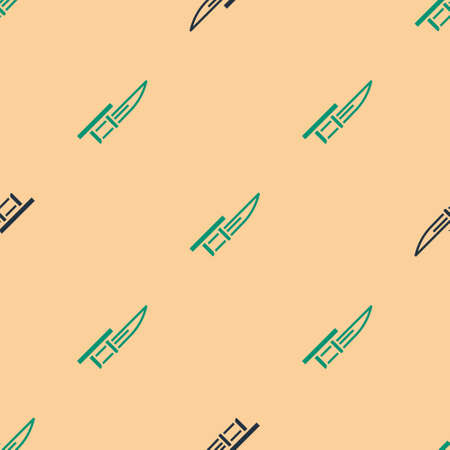 Green and black Bayonet on rifle icon isolated seamless pattern on beige background. Vector  イラスト・ベクター素材