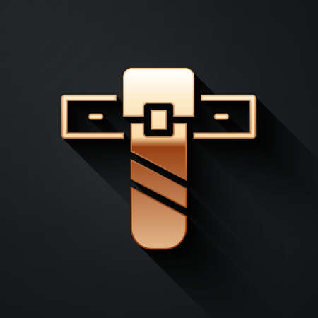 Gold Knife holster icon isolated on black background. Long shadow style. Vector