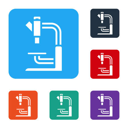 White Microscope icon isolated on white background. Chemistry, pharmaceutical instrument, microbiology magnifying tool. Set icons in color square buttons. Vector Ilustração