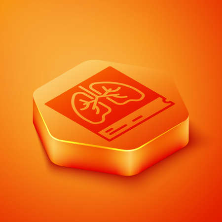 Isometric Lungs x-ray diagnostics icon isolated on orange background. Snapshot of the lungs. Orange hexagon button. Vector