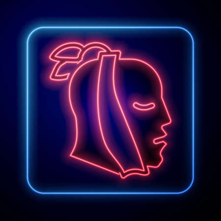 Glowing neon Toothache icon isolated on blue background. Vector