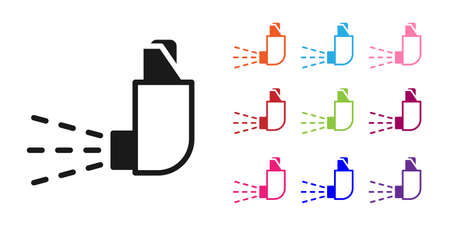Black Inhaler icon isolated on white background. Breather for cough relief, inhalation, allergic patient. Medical allergy asthma inhaler spray. Set icons colorful. Vector