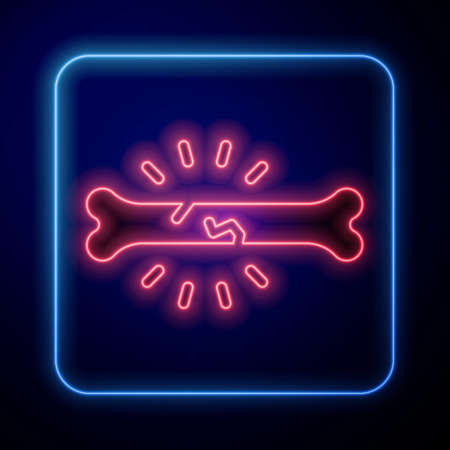Glowing neon Bone pain icon isolated on blue background. Orthopedic medical. Disease of the joints and bones, arthritis. Vector Vettoriali