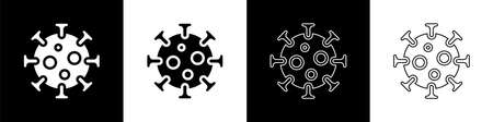 Set Virus icon isolated on black and white background. Corona virus 2019-nCoV. Bacteria and germs, cell cancer, microbe, fungi. Vector 向量圖像