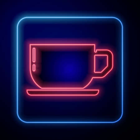 Glowing neon Coffee cup icon isolated on blue background. Tea cup. Hot drink coffee. Vector
