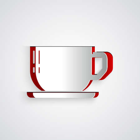 Paper cut Coffee cup icon isolated on grey background. Tea cup. Hot drink coffee. Paper art style. Vector
