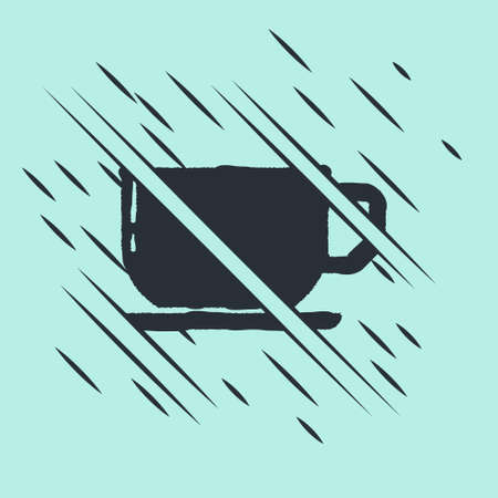 Black Coffee cup icon isolated on green background. Tea cup. Hot drink coffee. Glitch style. Vector