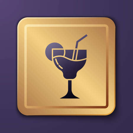 Purple Cocktail and alcohol drink icon isolated on purple background. Gold square button. Vector