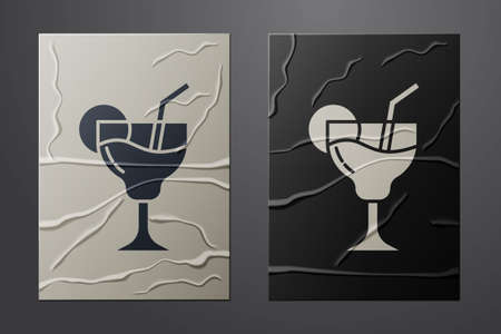 White Cocktail and alcohol drink icon isolated on crumpled paper background. Paper art style. Vector