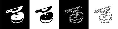 Set Steak meat and knife icon isolated on black and white background. Slicing meat. Vector
