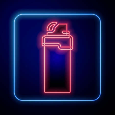 Glowing neon Lighter icon isolated on blue background. Vector
