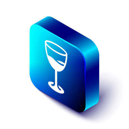 Isometric Wine glass icon isolated on white background. Wineglass sign. Blue square button. Vector