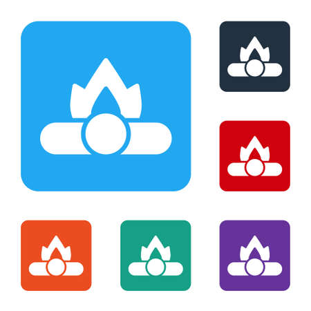 White Campfire icon isolated on white background. Burning bonfire with wood. Set icons in color square buttons. Vector Illustration