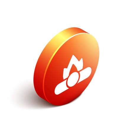 Isometric Campfire icon isolated on white background. Burning bonfire with wood. Orange circle button. Vector