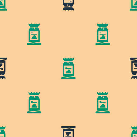 Green and black Barbecue coal bag icon isolated seamless pattern on beige background. Vector Illustration