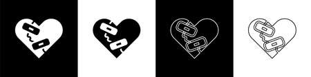 Set Healed broken heart or divorce icon isolated on black and white background. Shattered and patched heart. Love symbol. Valentines day. Vector Ilustração