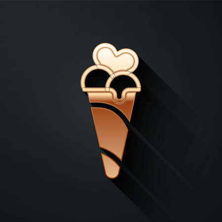 Gold Ice cream in waffle cone icon isolated on black background. Sweet symbol. Long shadow style. Vector 矢量图像