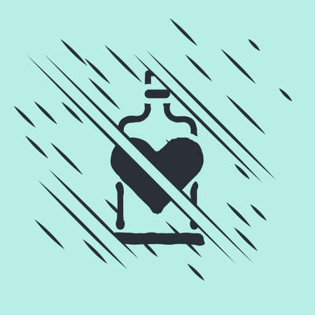 Black Bottle with love potion icon isolated on green background. Valentines day symbol. Glitch style. Vector