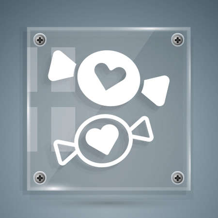 White Candy icon isolated on grey background. Square glass panels. Vector