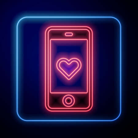 Glowing neon Smartphone with heart emoji speech bubble get message on screen icon isolated on blue background. Valentines day. Vector Vettoriali