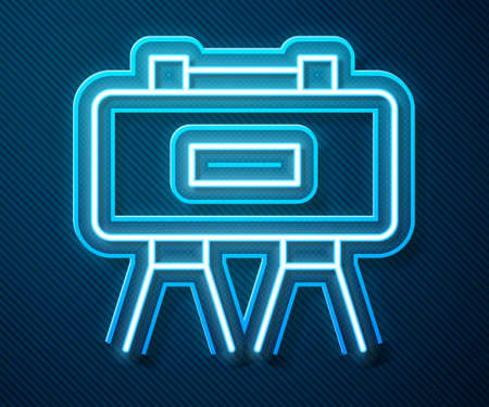 Glowing neon line Military mine icon isolated on blue background. Claymore mine explosive device. Anti personnel mine. Army explosive. Vector