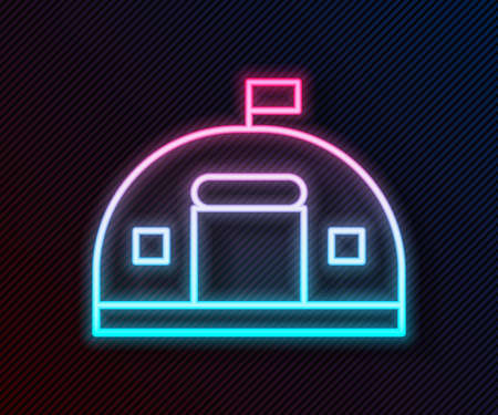 Glowing neon line Military barracks station icon isolated on black background. Airstrikes architecture army. Vector