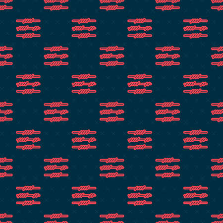 Red line Barbed wire icon isolated seamless pattern on black background. Vector Ilustrace