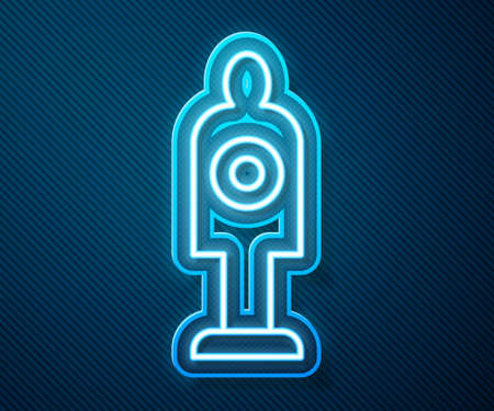Glowing neon line Human target sport for shooting icon isolated on blue background. Clean target with numbers for shooting range or shooting. Vector