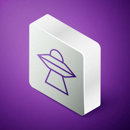 Isometric line UFO flying spaceship icon isolated on purple background. Flying saucer. Alien space ship. Futuristic unknown flying object. Silver square button. Vector