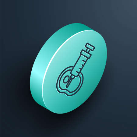 Isometric line Genetically modified meat icon isolated on black background. Syringe being injected to meat. Turquoise circle button. Vector