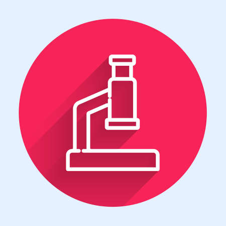 White line Microscope icon isolated with long shadow. Chemistry, pharmaceutical instrument, microbiology magnifying tool. Red circle button. Vector