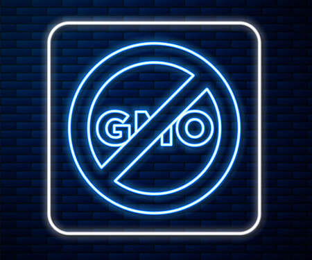 Glowing neon line No GMO icon isolated on brick wall background. Genetically modified organism acronym. Dna food modification. Vector