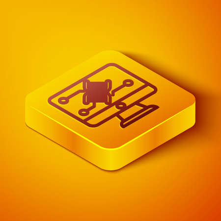 Isometric line Genetic engineering modification on monitor icon isolated on orange background. DNA analysis, genetics testing, cloning. Yellow square button. Vector