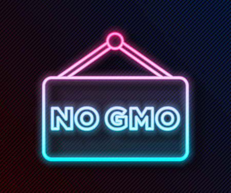 Glowing neon line No GMO icon isolated on black background. Genetically modified organism acronym. Dna food modification. Vector