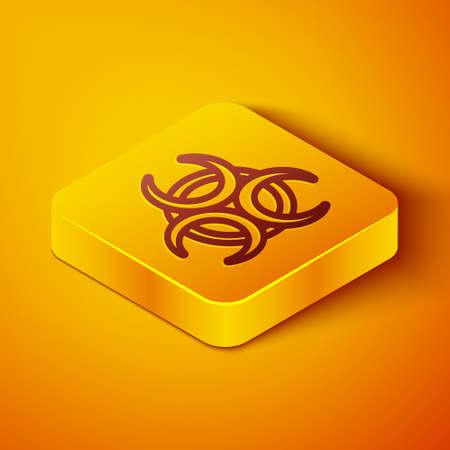 Isometric line Biohazard symbol icon isolated on orange background. Yellow square button. Vector 向量圖像