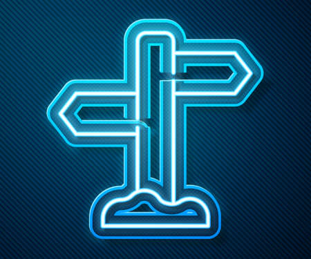 Glowing neon line Road traffic sign. Signpost icon isolated on blue background. Pointer symbol. Street information sign. Direction sign. Vector